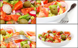 Collage med sund ny sallad Royaltyfria Bilder