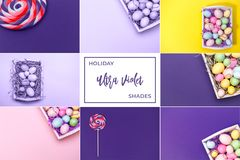 Collage med ultraviolet tonade bilder Pantone färg av jarösten Arkivfoto