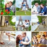 Collage med unga romantiska par som har ett datum Arkivbild