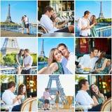 Collage med unga romantiska par som har ett datum Arkivfoton