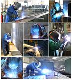 Collage med welders på arbetsplatsen i bransch Arkivbilder