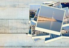 Collage med yachter, fartyg, fyren och ett nautiskt begrepp för kust royaltyfri fotografi
