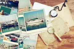 Collage med yachter, fartyg, fyren och ett nautiskt begrepp för kust arkivbild