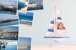 Collage med yachter, fartyg, fyren och ett nautiskt begrepp för kust royaltyfria foton