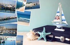 Collage med yachter, fartyg, fyren och ett nautiskt begrepp för kust royaltyfri foto