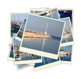 Collage med yachter, fartyg, fyren och ett nautiskt begrepp för kust Isolerat på vit Royaltyfria Foton