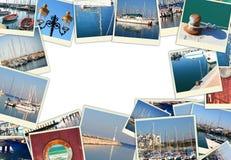 Collage med yachter, fartyg, fyren och ett nautiskt begrepp för kust Isolerat på vit Arkivbild