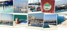 Collage med yachter, fartyg, fyren och ett nautiskt begrepp för kust Isolerat på vit Royaltyfri Foto