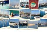 Collage med yachter, fartyg, fyren och ett nautiskt begrepp för kust Isolerat på vit Arkivfoto