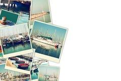 Collage med yachter, fartyg, fyren och ett nautiskt begrepp för kust Isolerat på vit Royaltyfri Fotografi
