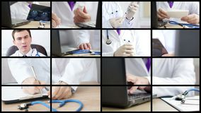 Collage of medical doctors analyzing and explaining some results. And doing procedures. UltraHD 4K video stock video