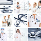 A collage of medical images with doctors and tools Stock Images