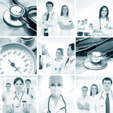 A collage of medical images with young doctors Stock Photo