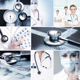 A collage of medical workers and medical tools Stock Photos