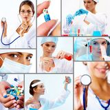 Collage of medicine. Collage of collection of medical and chemical  professionals Stock Photos