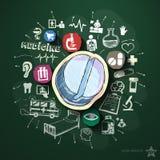 Collage medico con le icone sulla lavagna Fotografie Stock