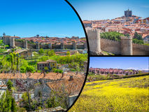 Collage of Medieval city walls of Avila, Spain Royalty Free Stock Photos