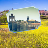 Collage of Medieval city walls of Avila, Spain Stock Photos