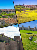 Collage of Medieval city walls of Avila, Spain Stock Photography