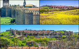 Collage of Medieval city walls of Avila, Spain Stock Photo