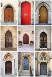 Medieval front doors with lancet arch. Collage of medieval front doors with lancet arch Stock Images