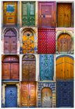Collage of medieval front doors stock images