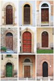Medieval front doors with rounded arch Royalty Free Stock Image