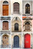 Medieval front doors with rounded arch Stock Photo