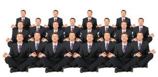 Collage Meditating de la muchedumbre de los hombres de negocios Imagen de archivo libre de regalías