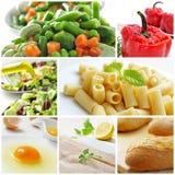 Collage Mediterraneo di dieta Immagini Stock