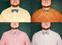 Collage of men with beard in different shirts and bowtie. Royalty Free Stock Photography