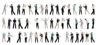 Collage of men playing golf on white stock photos