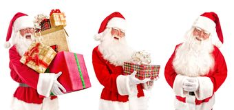 Collage of Santa Claus - with Christmas Gifts Stock Photos