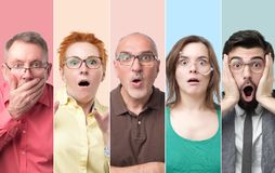 Collage of men and women with glasses feeling shocked and stressed. Oh no concept. Collage of men and women with glasses looking at camera, keeping mouth wide royalty free stock photo