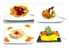 Collage Menu. Full meal, from appetizers to fruit stock image