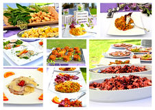 Collage Menu. Rich banquet with several courses of appetizers Stock Photo