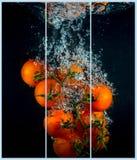 Collage met één enkele foto van een kersentomaat Stock Afbeelding
