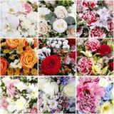 Collage met boeketten van bloemen stock afbeelding