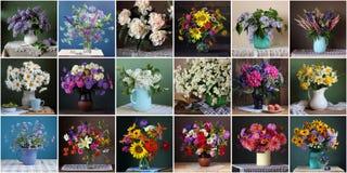 Collage met boeketten van bloemen Stilleven met een boeket in a royalty-vrije stock fotografie