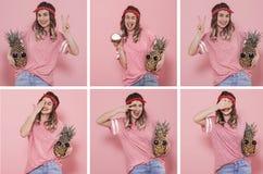 Collage met een jonge vrouw met verschillende emoties stock foto's