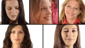 Collage met inbegrip van portretten van diverse mensen stock footage