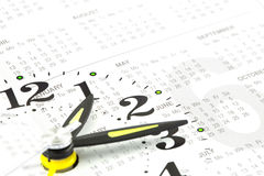 Collage met klok en kalender Stock Foto's
