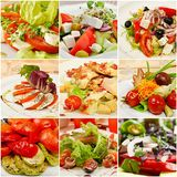 Collage met maaltijd stock fotografie
