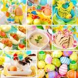 Collage met Pasen decoratie en traditionele schotels Stock Afbeeldingen