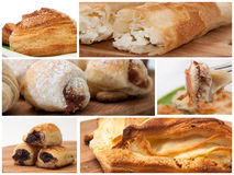 Collage met producten van de bakkerij Stock Afbeeldingen