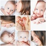 Collage met verscheidene foto's van moeder en haar baby stock foto's