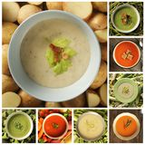 Collage met verschillend soort soepen stock foto