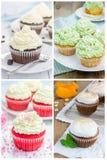 Collage met verschillende soorten cupcakes Royalty-vrije Stock Afbeelding