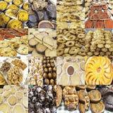 Collage met zoete cakes en desserts Stock Foto's