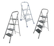 Collage, metal ladder isolated on white Royalty Free Stock Image